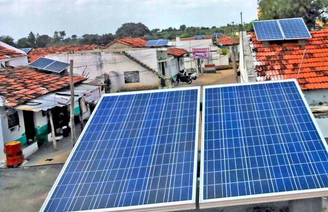 Solar panels atop every house in Banjerpally, a small village in the district of Siddipet (Telangana)